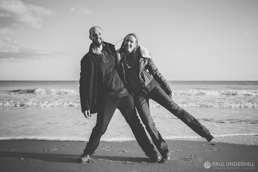 Fun portraits wedding couple in Dorset