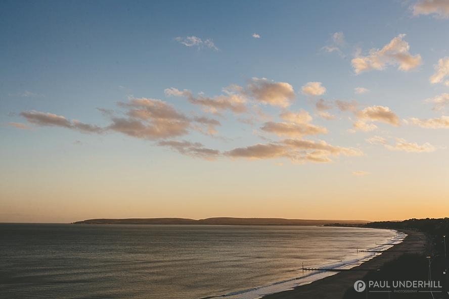Sunset over beach in Dorset