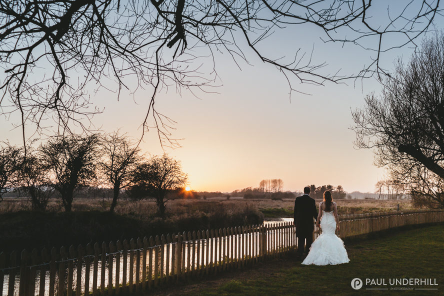 Sunset at Sopley Mill wedding