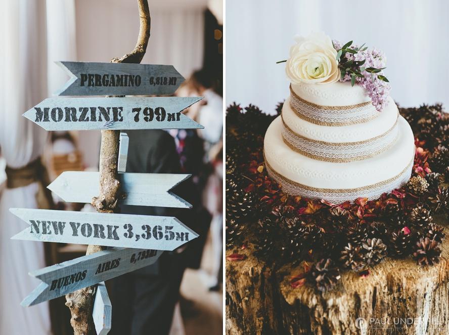 Wedding cake and DIY wedding signs