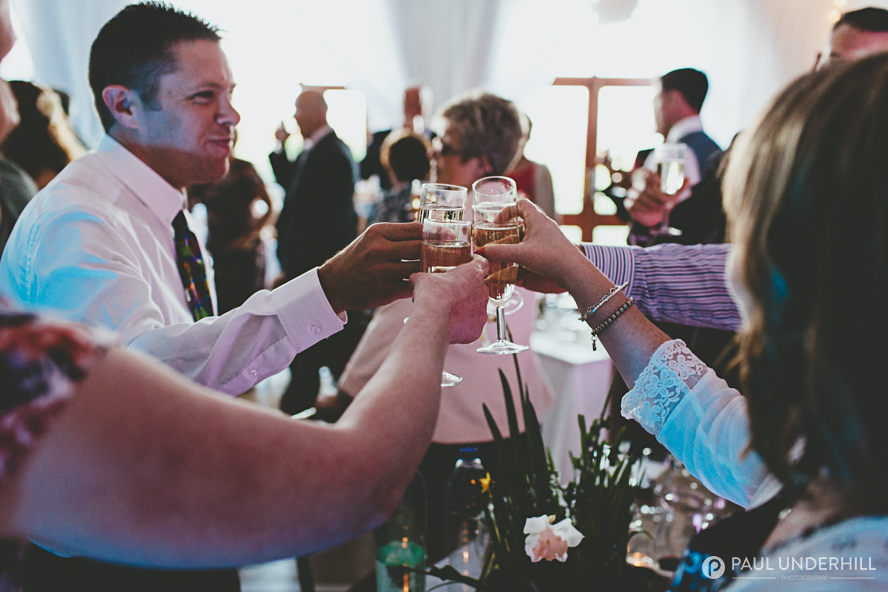 Wedding guests toast the couple
