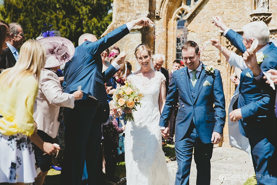 Confetti throwing Somerset wedding
