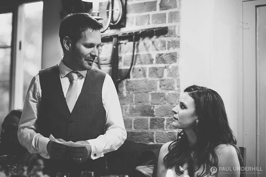 Creative black and white wedding photo
