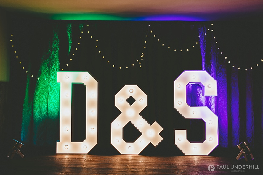 Letters with lights for Surrey wedding