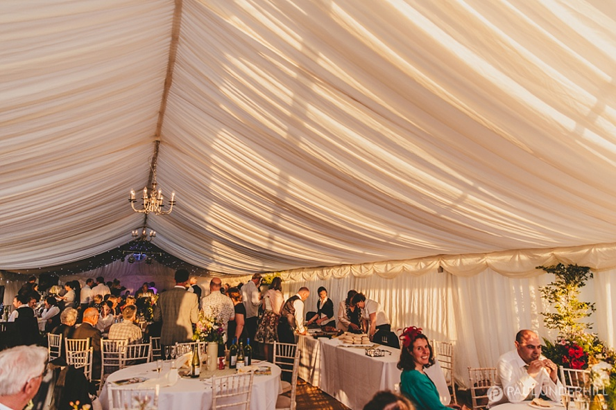 Sunset in marquee wedding