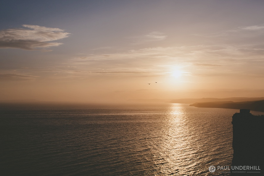 Sunset over Dorset coastline