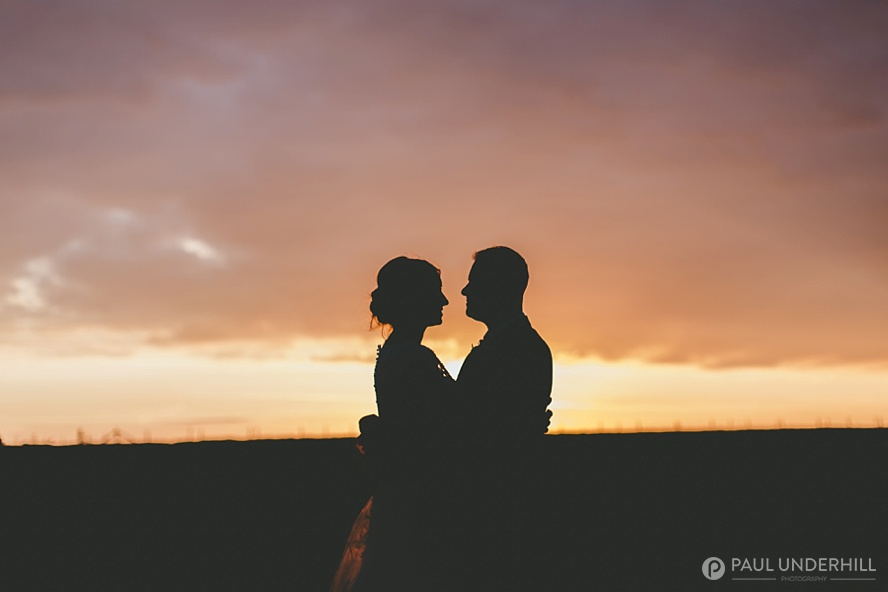 Sunset wedding portrait in Dorset