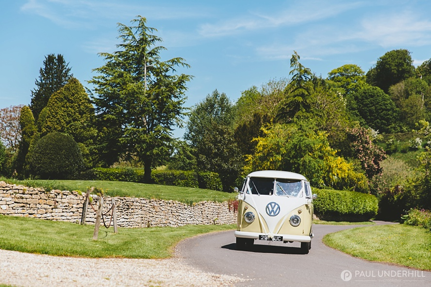 VW camper arrives at Somerset wedding