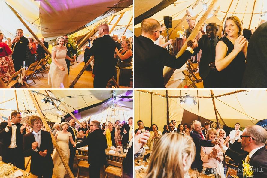 Bride Groom arrive tipi wedding