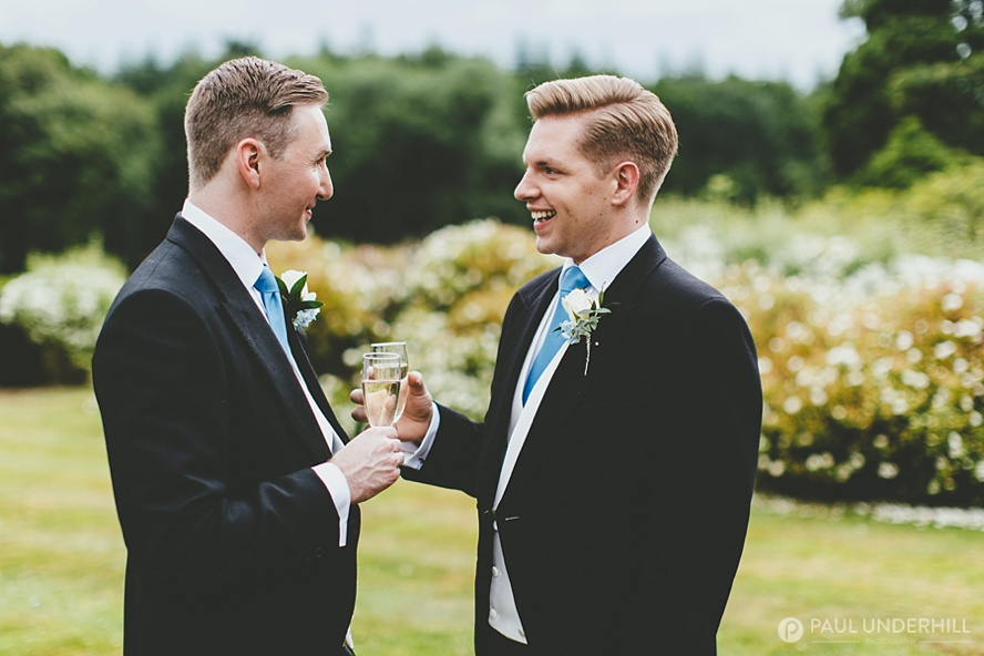 Candid portrait of grooms
