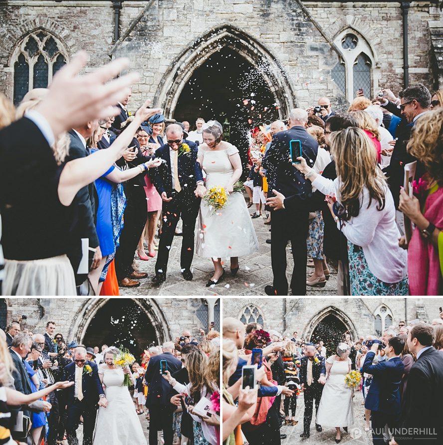 Confetti throwing outside Dorset church