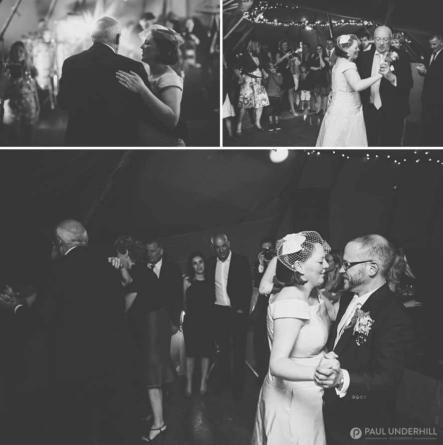 First dances at tipi wedding in Dorset