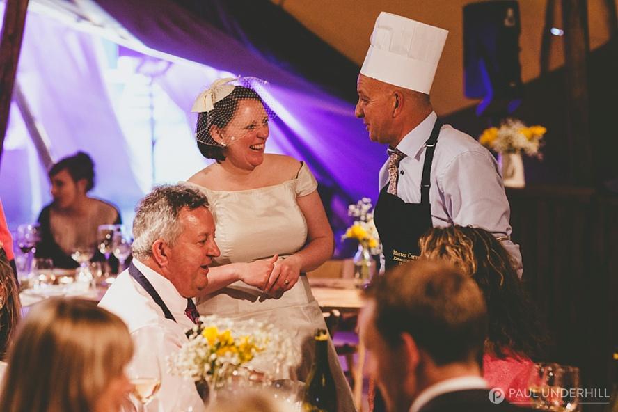 Guests having fun Dorset wedding