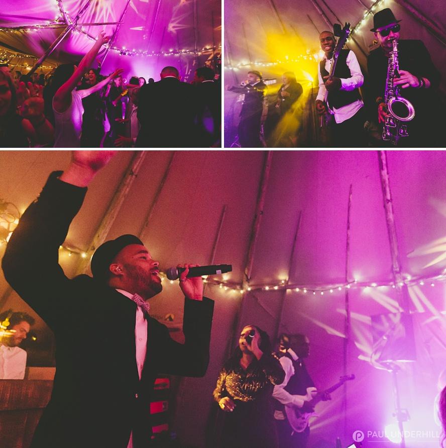 Live band Dorset tipi wedding