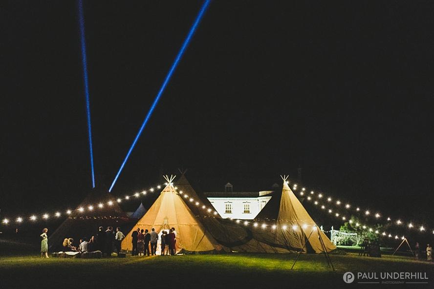 Smedmore House at night tipi wedding Dorset