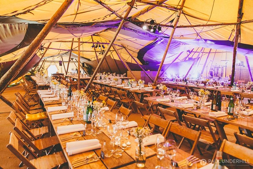 Tipi Wedding reception Smedmore House