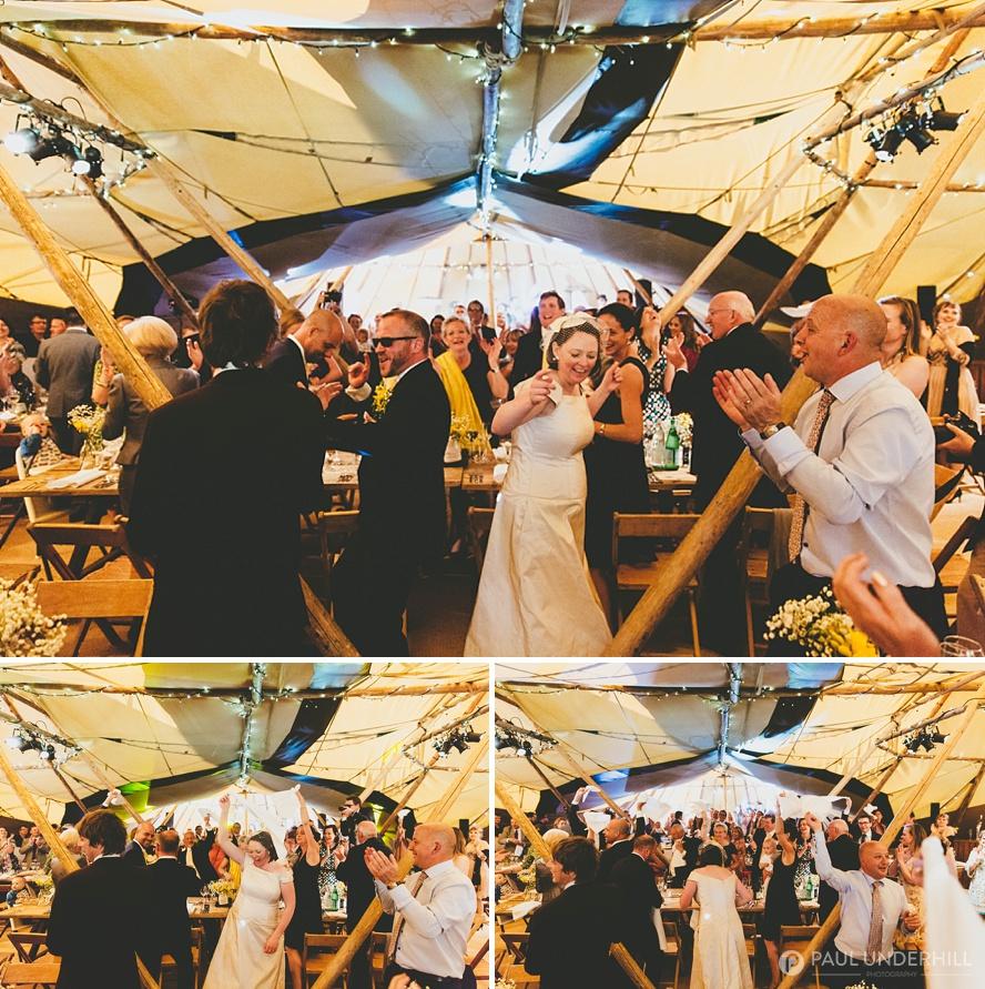 Tipi wedding reception in Dorset