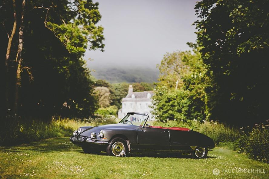 Vintage wedding car Smedmore House