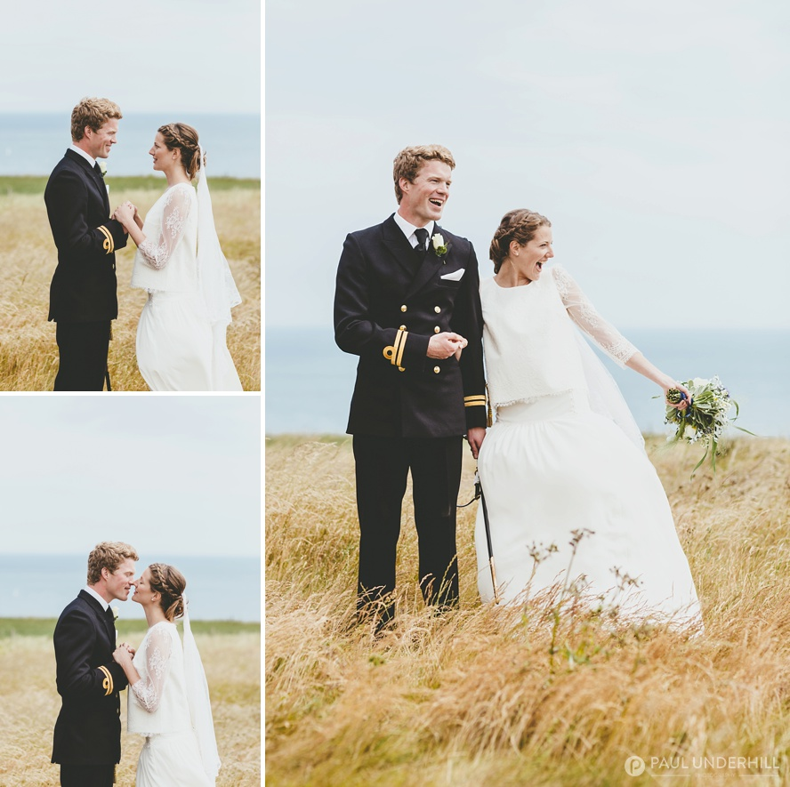 Bride and groom portraits at St Aldhelms Head