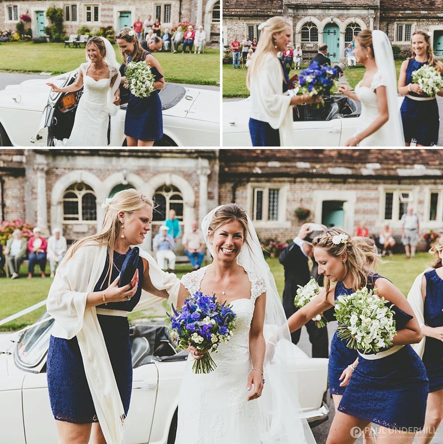 Bride arrives at church in Milton Abbas Dorset