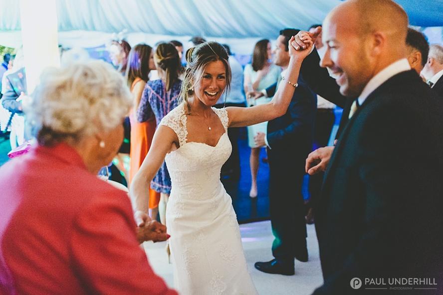 Bride dancing with grandmother at Dorset wedding