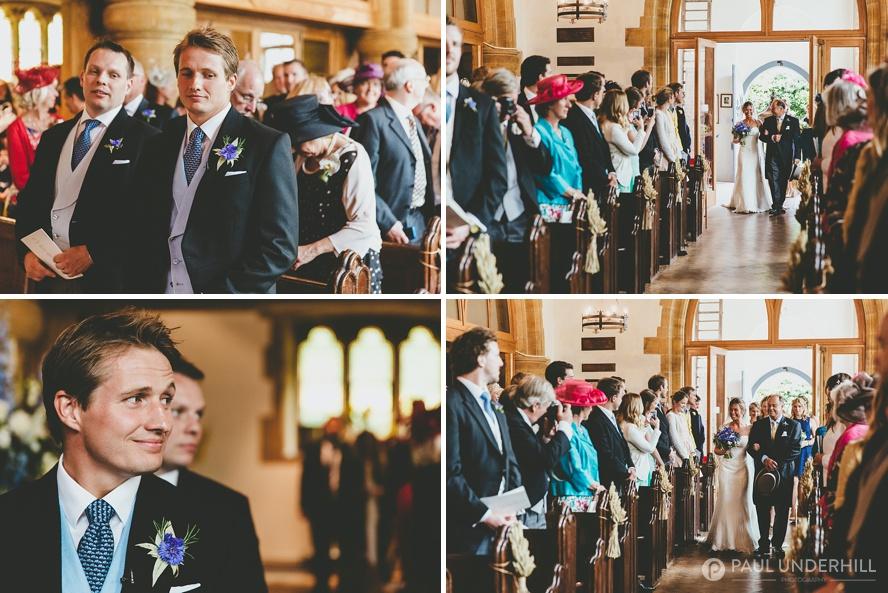 Bride walks up the aisle