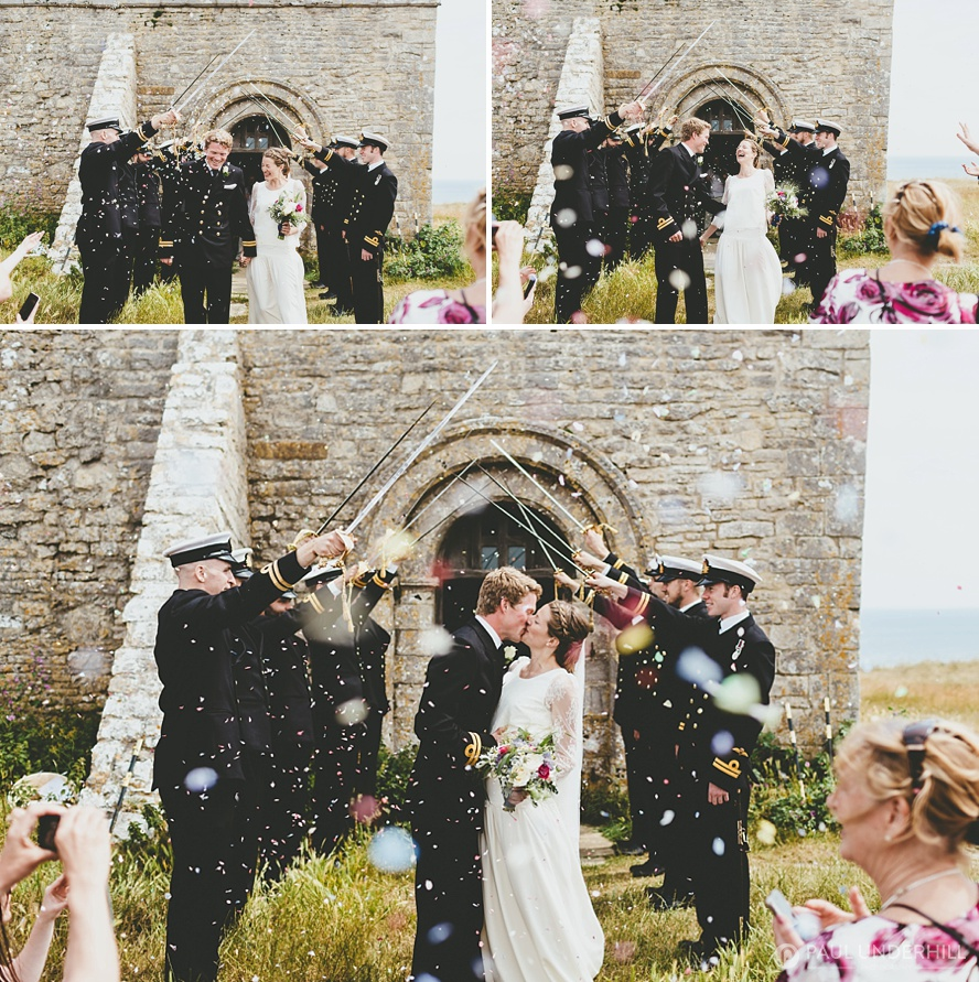 Confetti throwing St Aldhelms Chapel Dorset