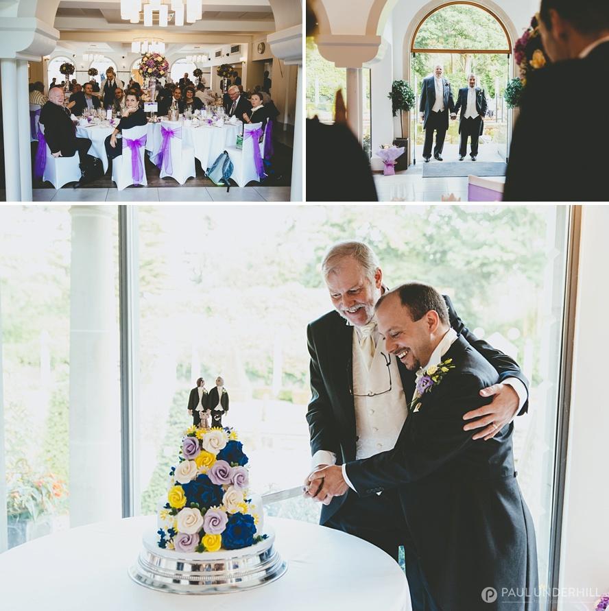 Cutting the cake gay wedding