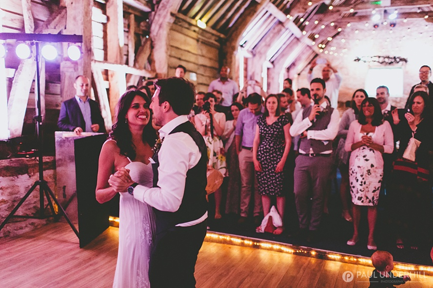 First dance at barn wedding venue