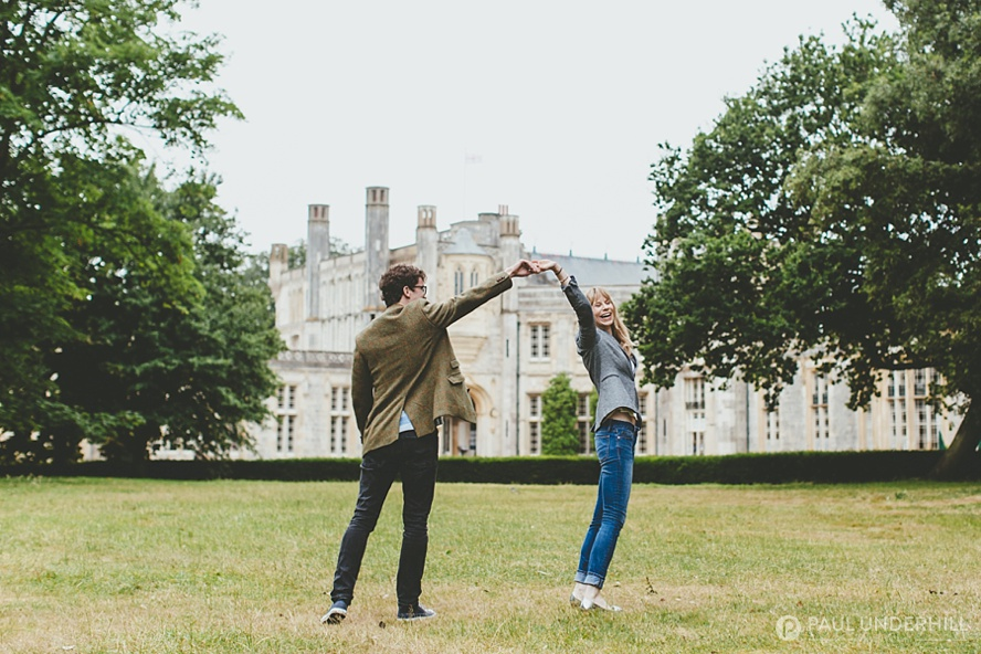Fun couples portraits at Highcliffe Castle