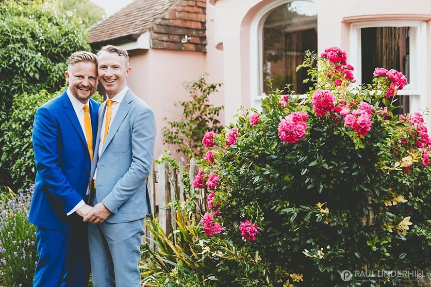 Gay couple wedding portrait