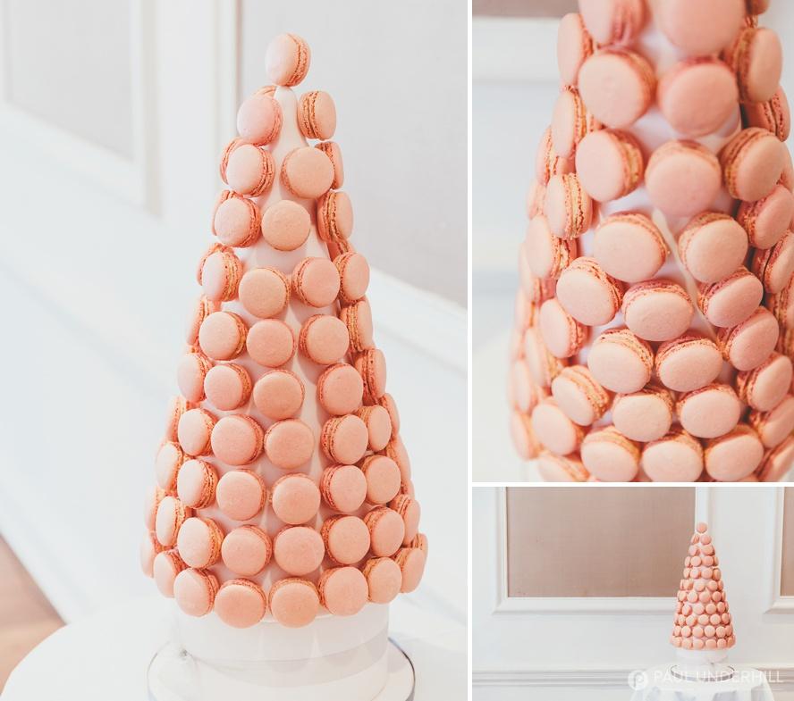 Gay wedding cake pink macaroons
