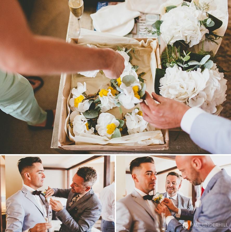 Gay wedding grooms gettting ready