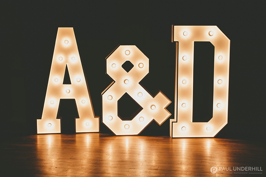 Grooms initials in lights
