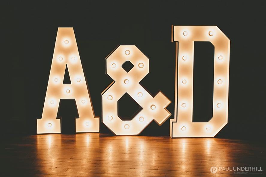 Grooms initials in lights