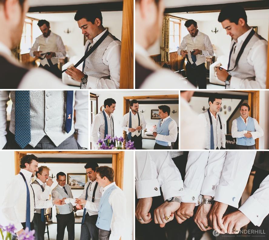Groomsmen getting ready at farm wedding in Dorset