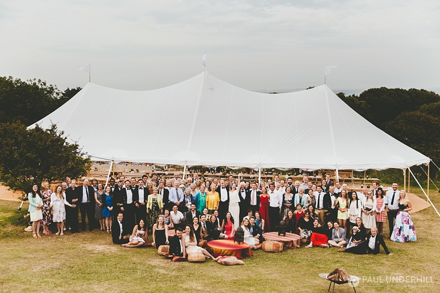 Group photo at Durlston Country Park wedding