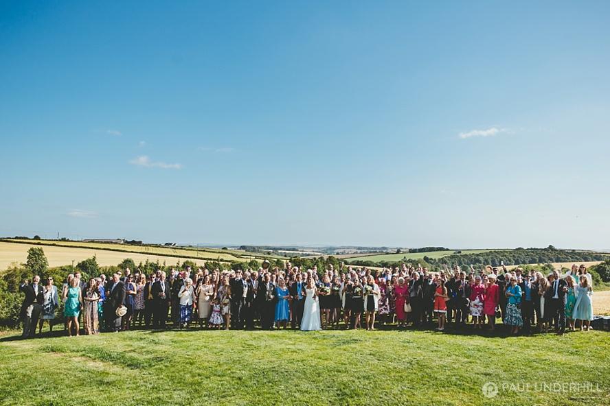 Group wedding portrait on Dorset farm