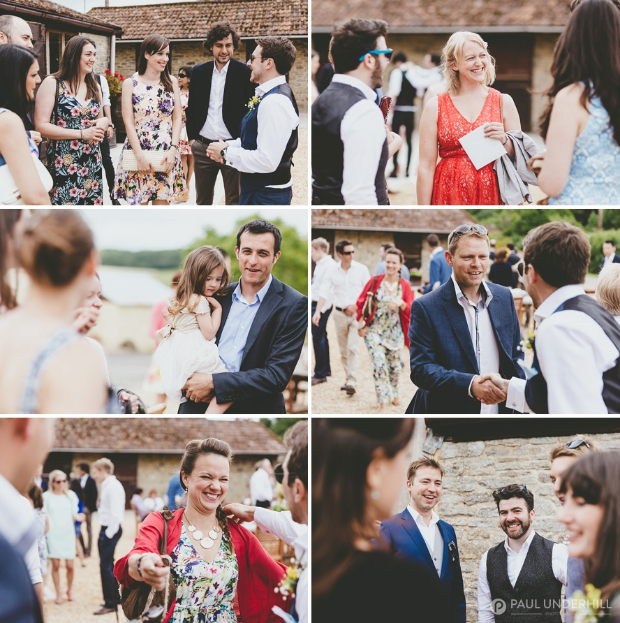 Guests arrive at Dorset barn wedding