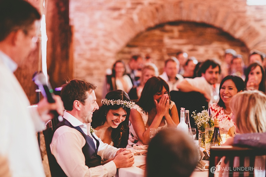 Guests laughing at Dorset wedding