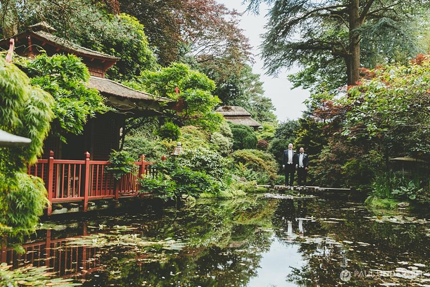 Japanese garden wedding portrait