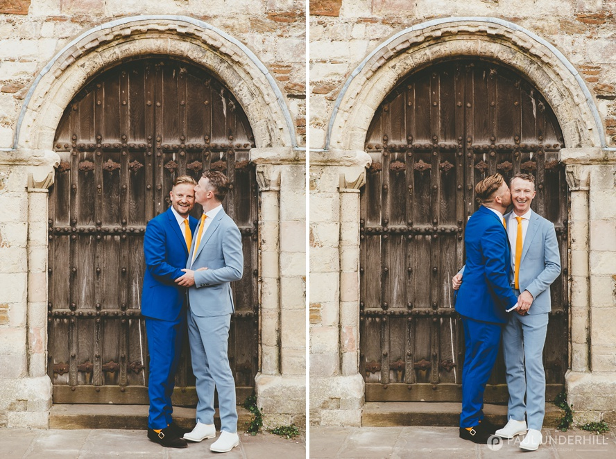Location portraits gay wedding couple