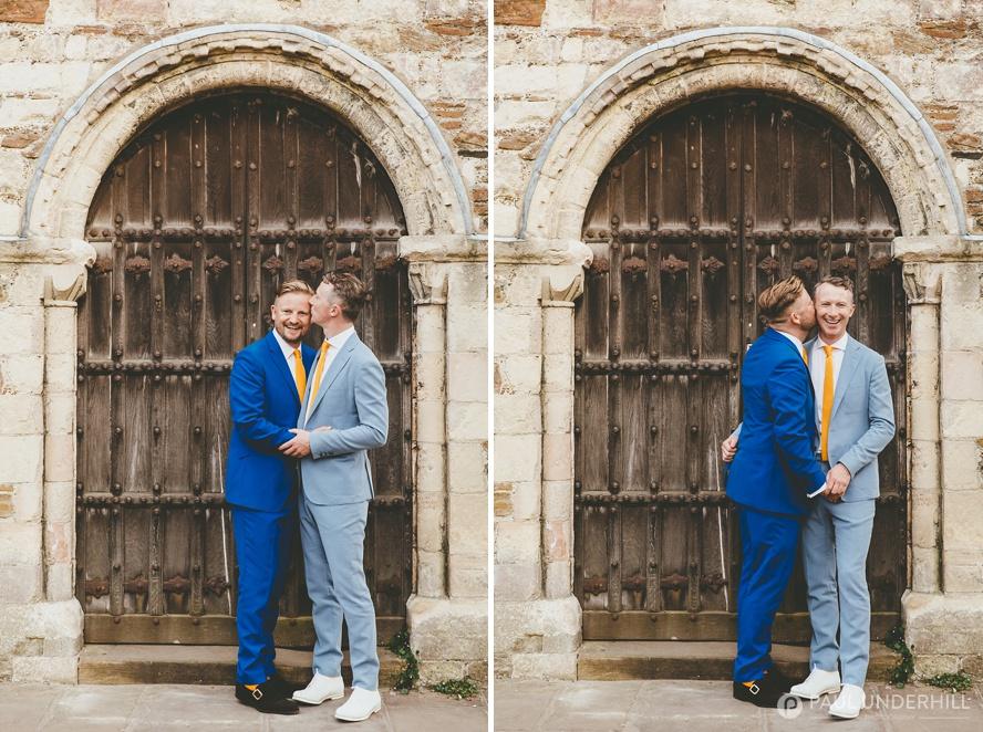 Location portraits gay wedding couple