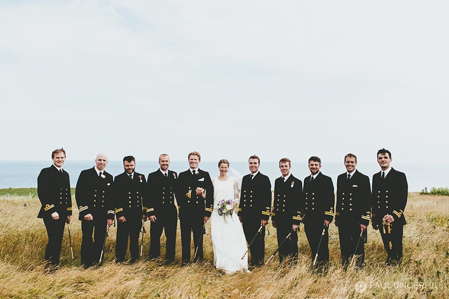 Navy men wedding portrait