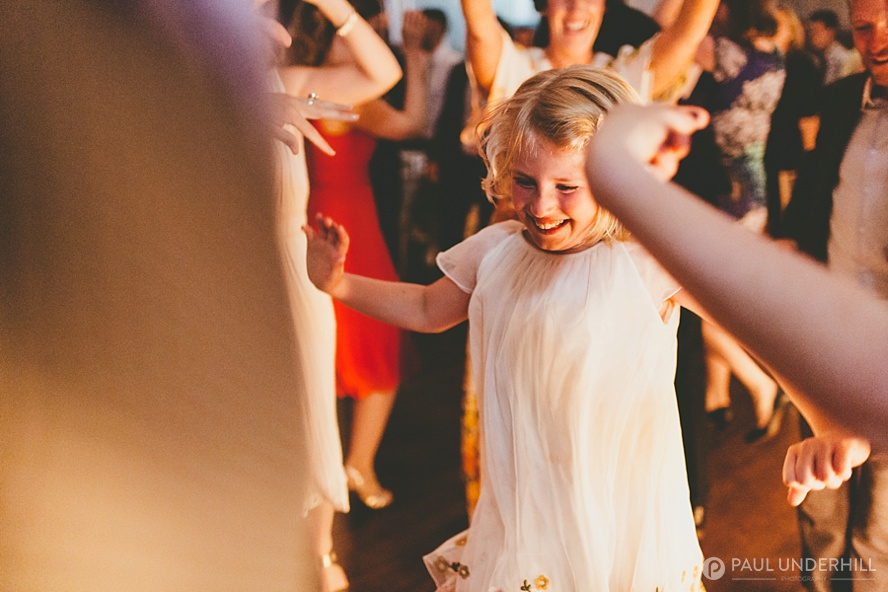 Photo of wedding guest having fun