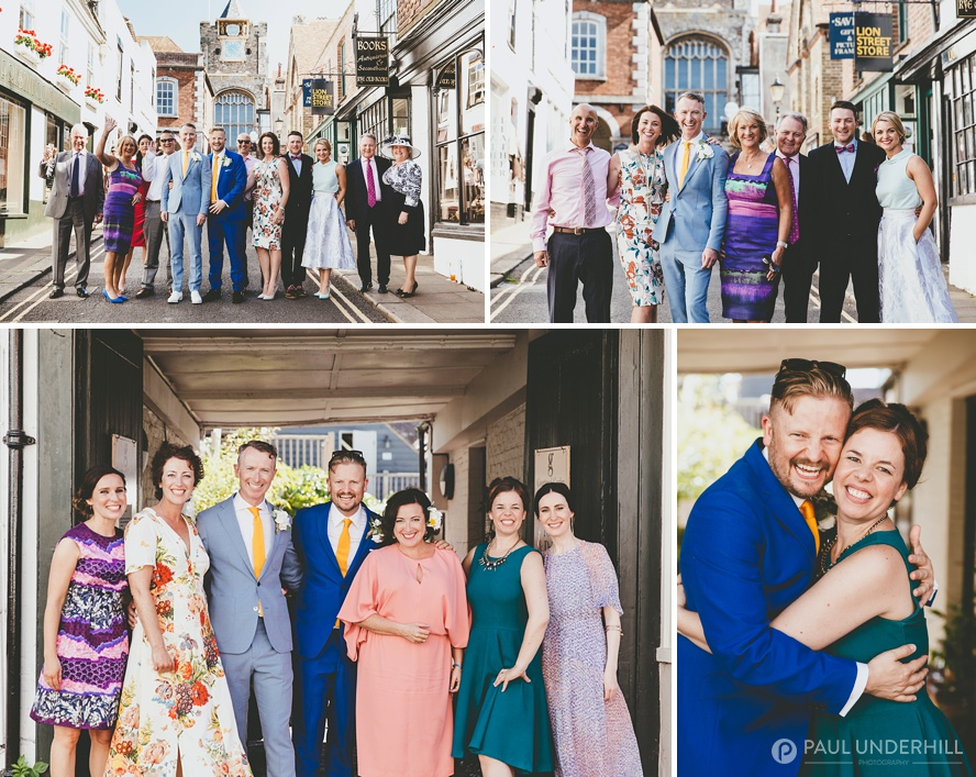 Portraits of grooms and guests