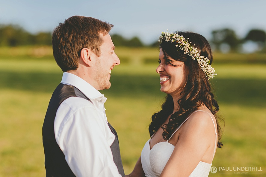 Summer evening wedding portrait