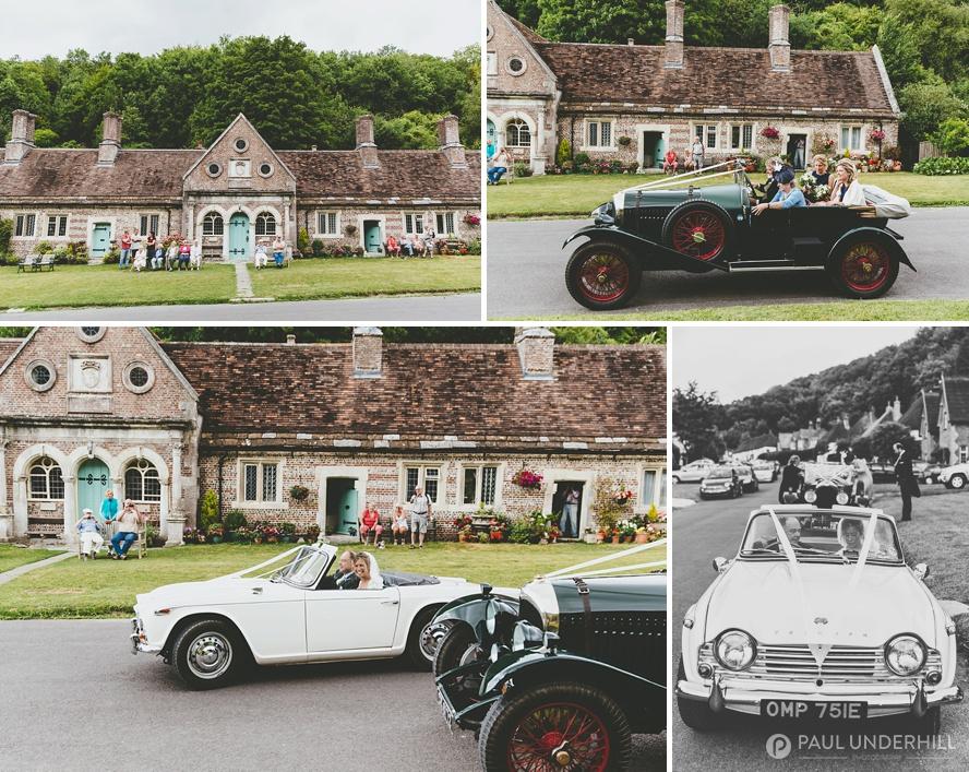 Vintage wedding cars arrive at church