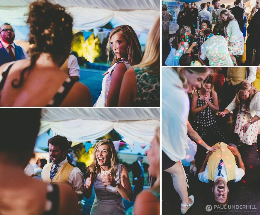 Wedding guests having fun in Dorset