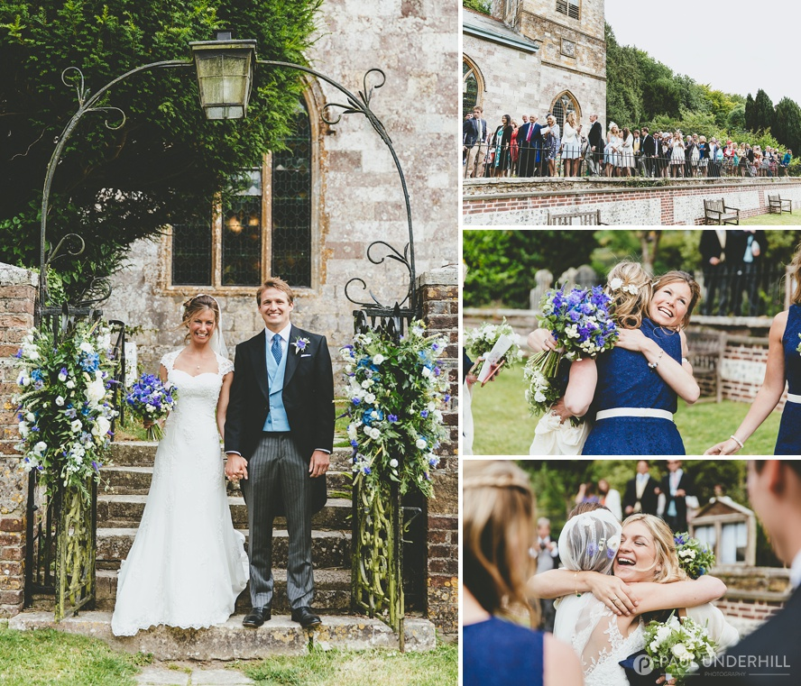 Wedding photography outside Milton Abbas church